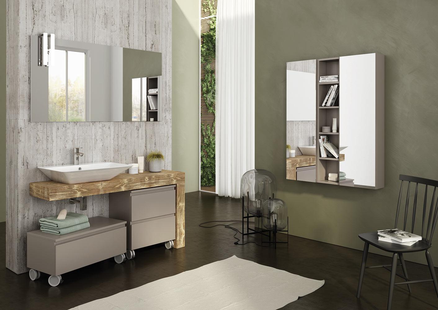 Dafnedesign.com - Mobile da bagno veletta in legno natural- lavabo a ...