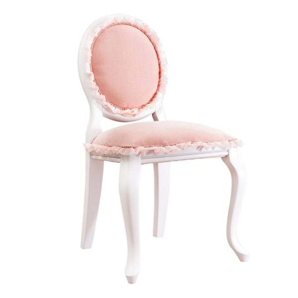 Sedia classica imbottita rosa e bianca