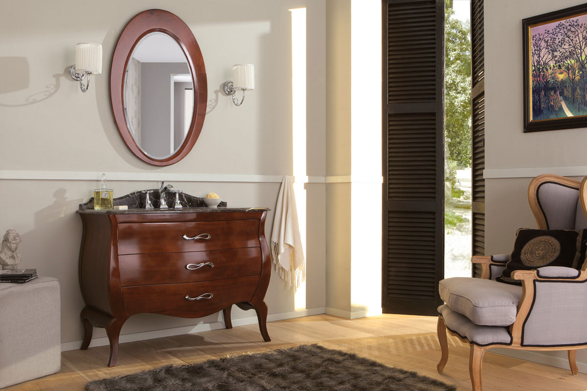 Mobile da bagno con cassetti e specchio misura h for Bagno accessori e mobili arredo bagno
