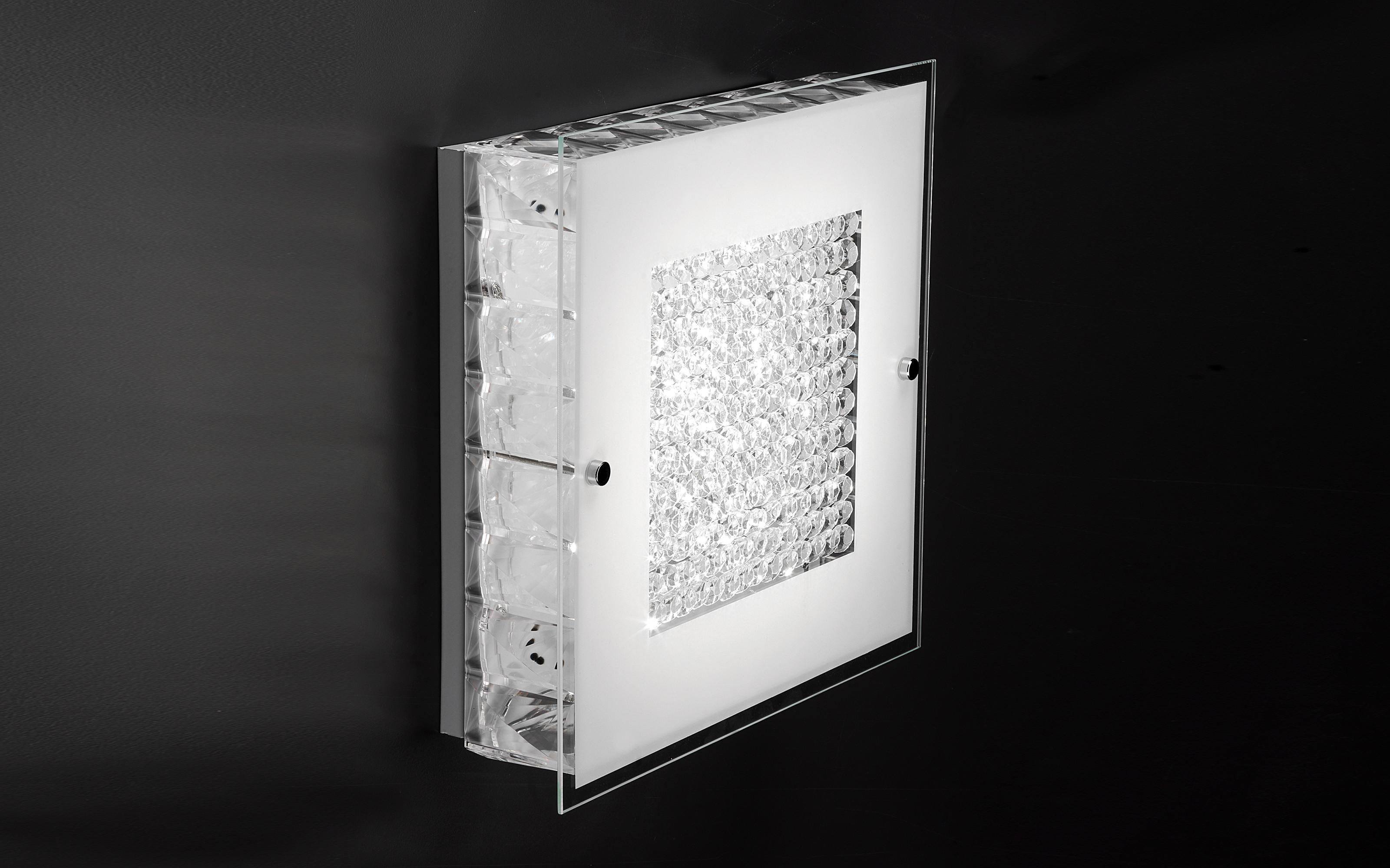 Plafoniere Con Cristalli : Plafoniera da parete con cristalli quadrata lampadine led dfl