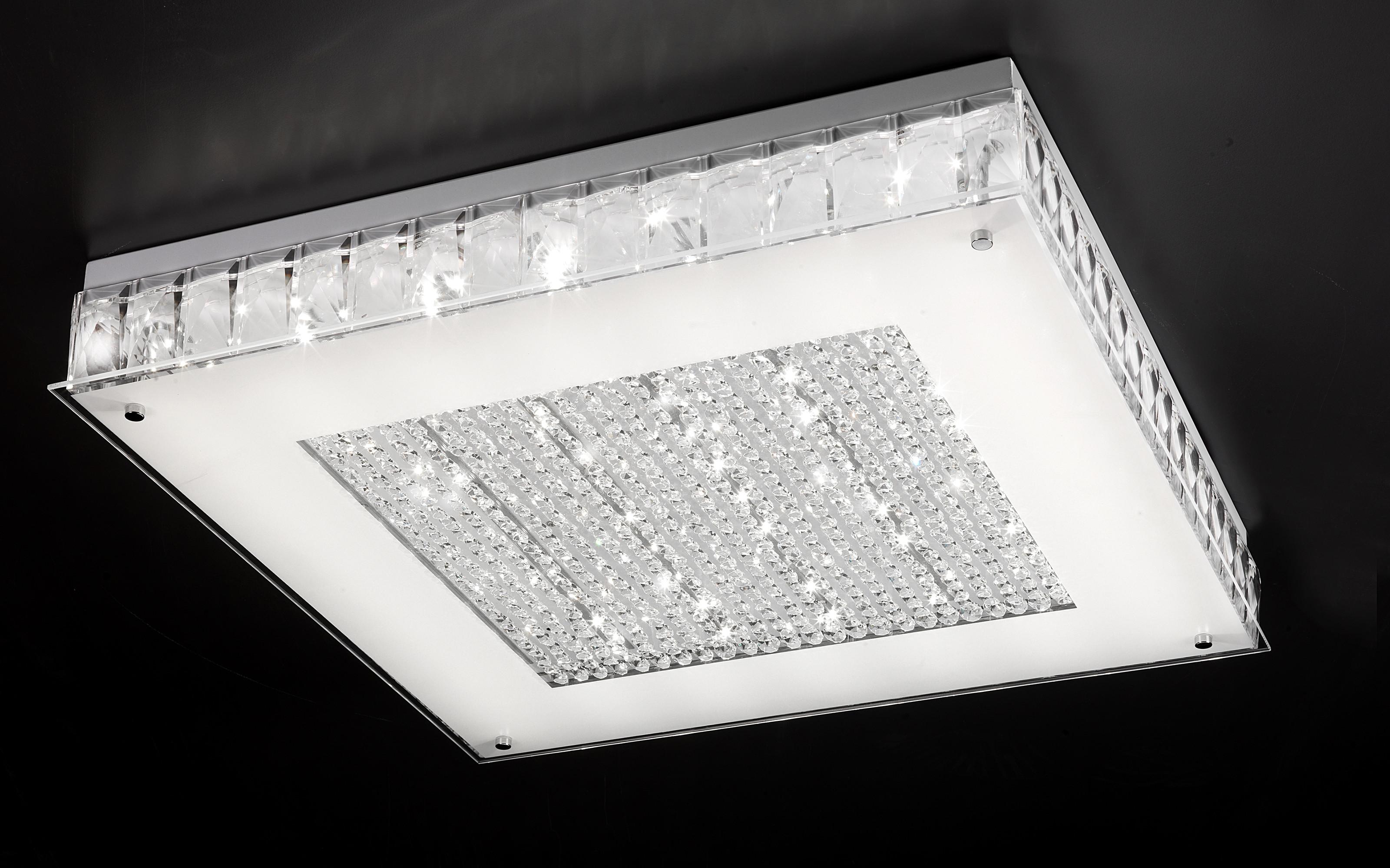 Plafoniere Moderne Con Cristalli : Moderna plafoniera con luci led in argento e cristallo art l