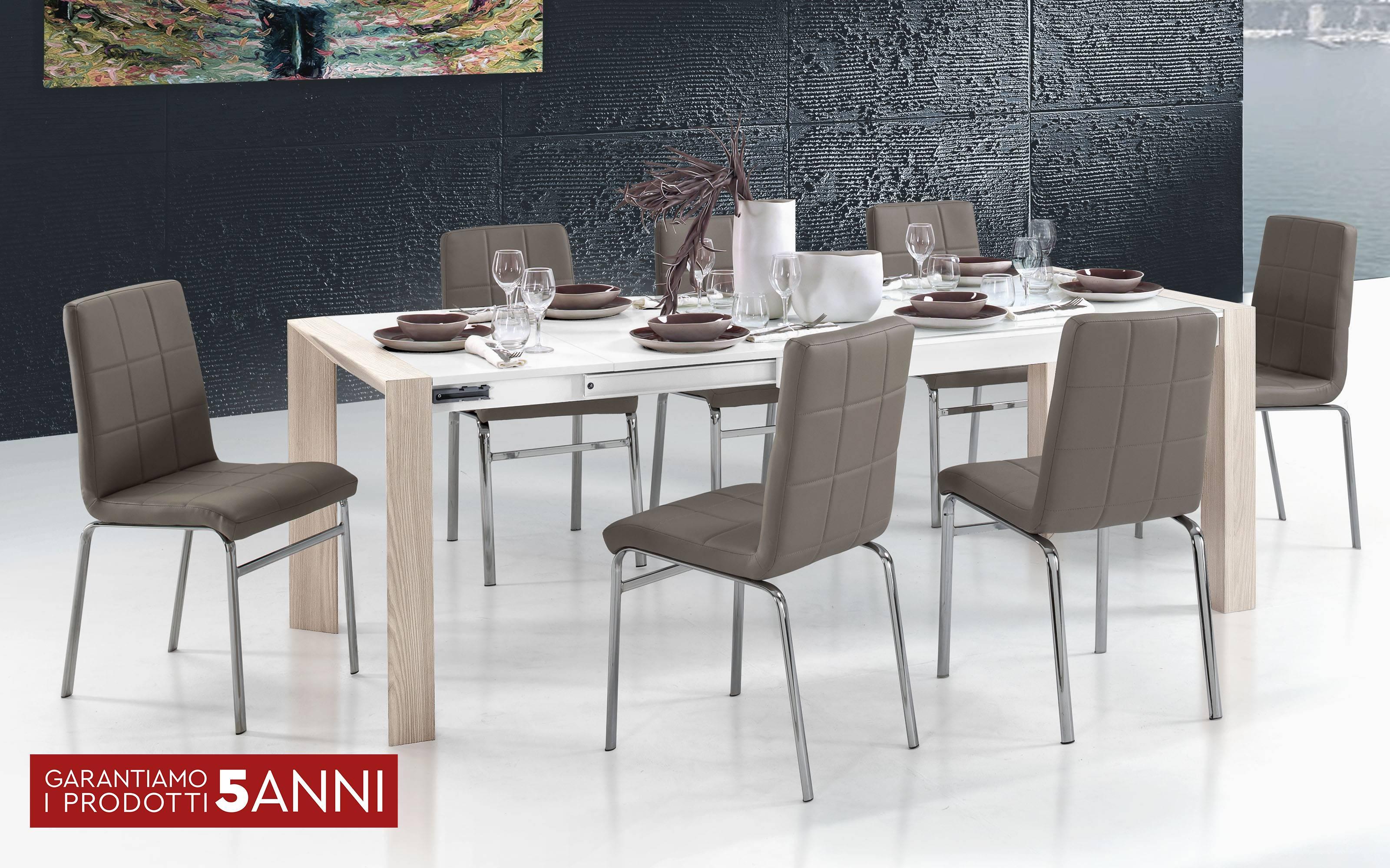 Tavolo In Vetro Bianco Allungabile.Tavolo Allungabile Effetto Olmo Perla Vetro Bianco Cm 160 X 90 X 75h