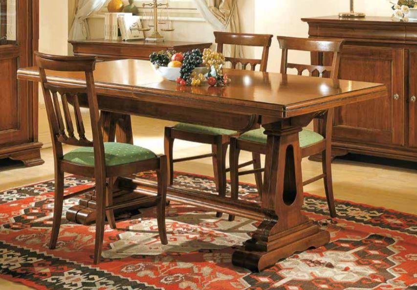 Set di tavolo allungabile con sedie noc- stile classico (cm. L. 180 - H. 80  - P. 85) (TVG)