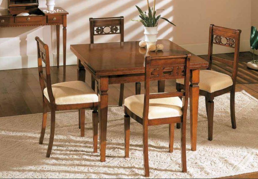 Set di tavolo allungabile con sedie noce, stile classico (cm. L. 100 - H.  80 - P. 100 ) (TVG)