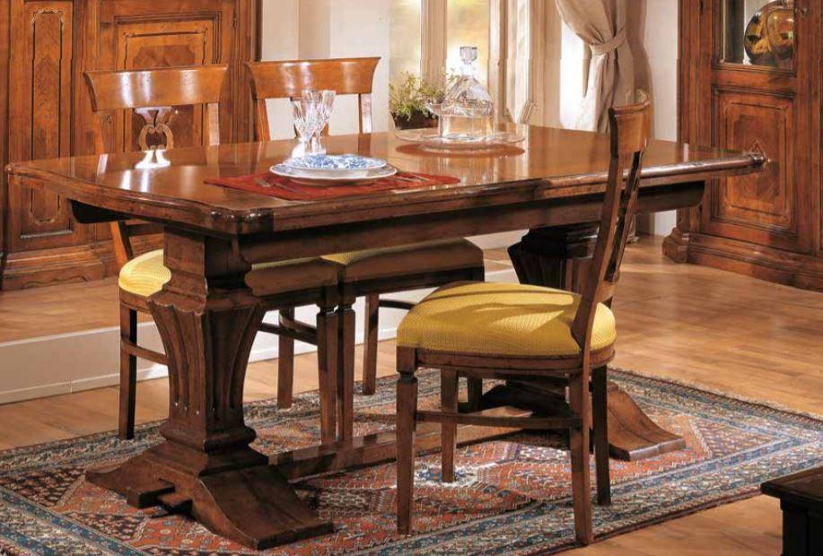 Set di tavolo allungabile con sedie noc- stile classico (cm. L. 180 - H. 80  - P. 100) (TVG)