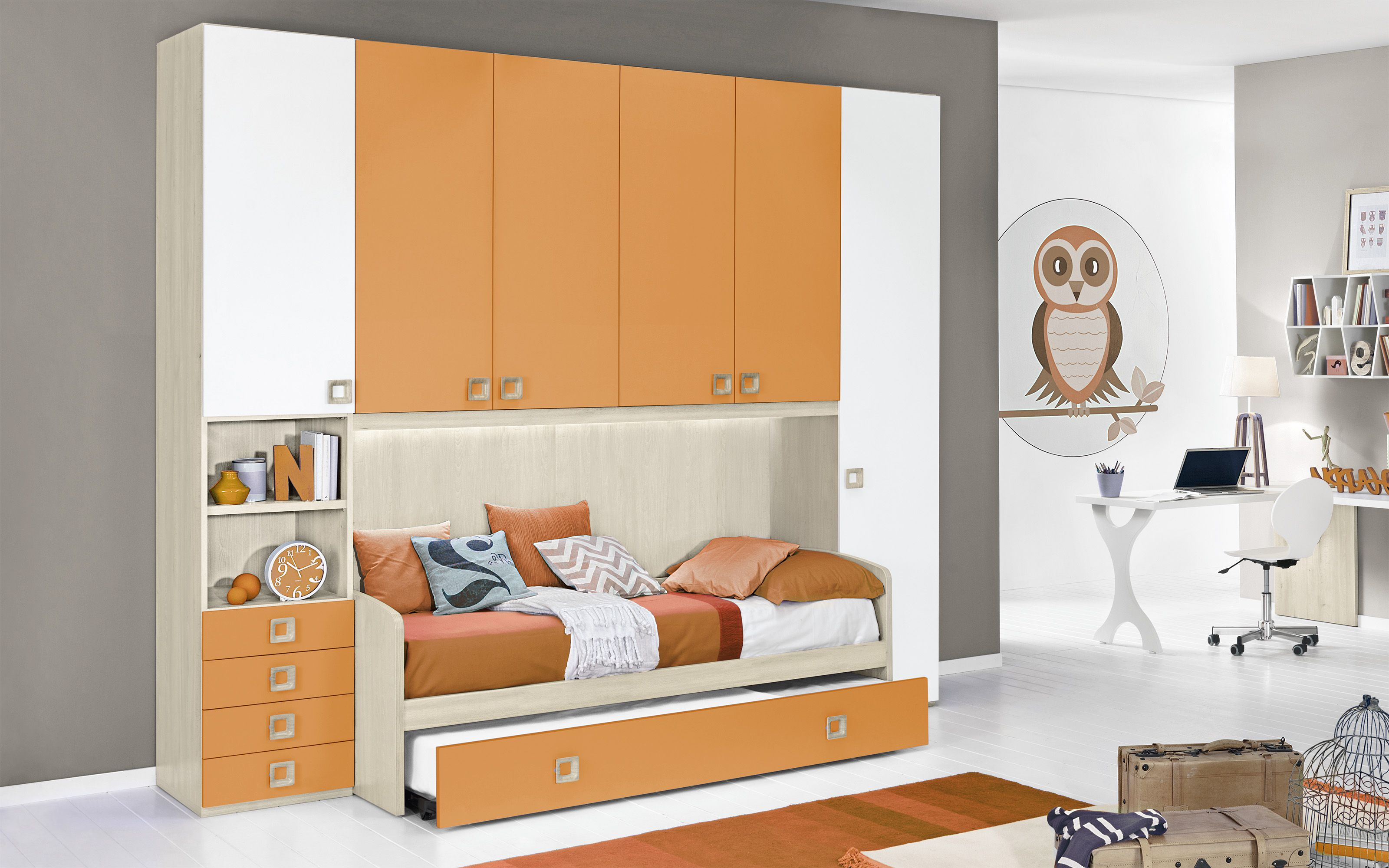 Cameretta Completa a ponte - Effetto betulla, bianco, mandarino (Doppio  letto singolo e armadio) (cm. 300 x 96 x 259h)