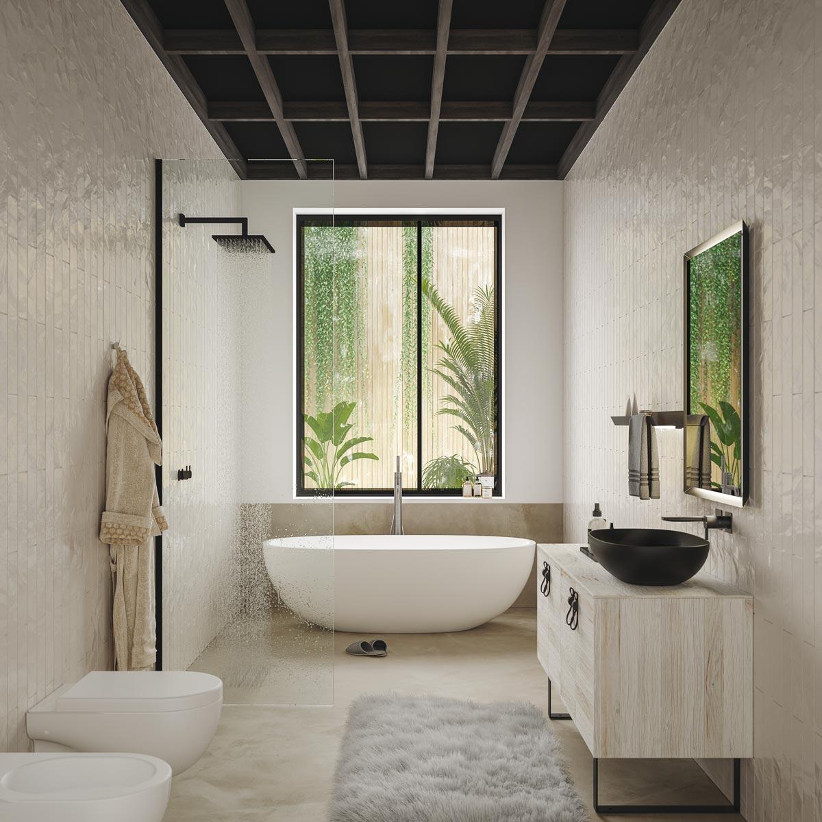 Armadietto Bagno Moderno mobile bagno moderno con lavabo a terra – castagno saponato con piedi in  metallo nero opaco