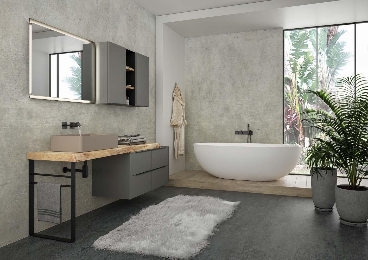 Armadietto Bagno Moderno mobile bagno moderno con lavabo a terra – castagno naturale levigato –  laccato grigio fumo