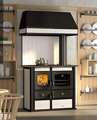Cucina economica a legna Bianca con cappa - Cucina a legna con porta fuoco  in ghisa