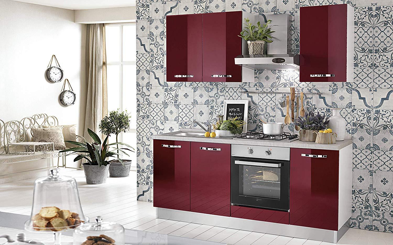 Dafnedesign.Com- Cucina Piccola - Composizione DX cm. cm. 195 x 60 x 216h -  comprende: Cappa, Forno ventilato, pozzetto lavandino, Piano Cottura a Gas  ...