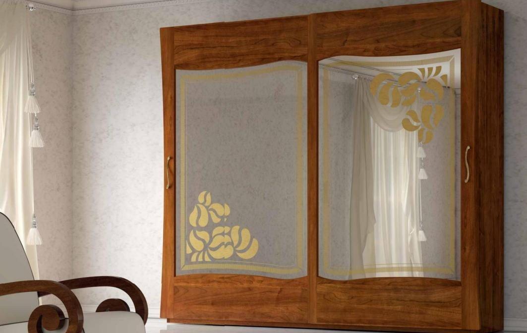 Armadio 2 ante scorrevoli con specchio, colore legno scuro, completo di  cassettiera interna, H. 252 X P. 65 X L. 289, 190 Kg, 1,60 Mc/M³, 100 %  Made ...