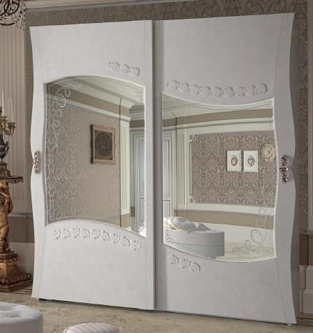 Armadio Ante Scorrevoli In Vetro.2 Wardrobe With Glass Sliding Doors With Internal Drawer Unit