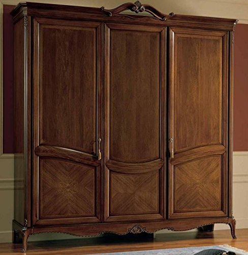 Armadio 3 ante, colore legno scuro, cassettiera interna con 3 cassetti,  schienale con lavorazione diamante, NO specchio interno, H. 240 X P. 67 X  L. ...