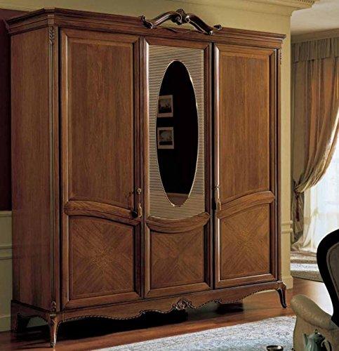 Armadio 3 ante con specchio millerighe, colore legno scuro, cassettiera  interna con 3 cassetti, NO specchio interno, H. 240 X P. 67 X L. 229, 180  Kg, ...