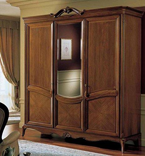 Dafnedesign.com – Armadio 3 ante specchio, colore legno scuro, cassettiera  interna con 3 cassetti, NO specchio interno, H. 240 X P. 67 X L. 229, 180  ...