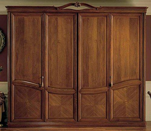 Dafnedesign.com – Armadio 4 ante, colore legno scuro, cassettiera ...