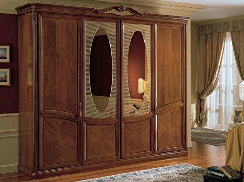 Armadio 4 ante con specchi millerighe, colore legno scuro, cassettiera  interna con 3 cassetti, SI specchio interno, H. 257 X P. 67 X L. 295, 224  Kg, ...