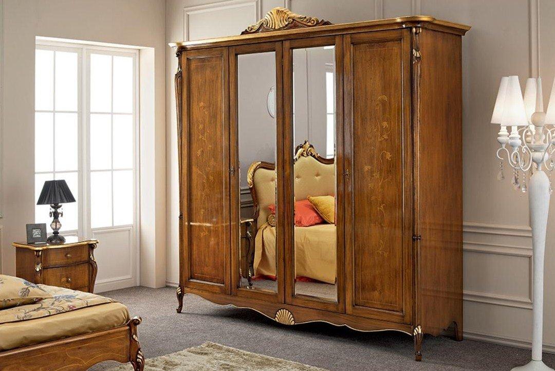Armadio, 4 ante con specchio, cassettiera interna, colore legno scuro,  decorazioni oro - Dimensioni: 245 cm - 75 cm - H 249 cm - 0,65 Mc - Stile  ...