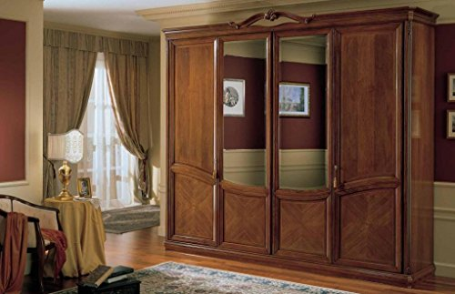 Dafnedesign.com – Armadio 4 ante con specchio, colore legno scuro ...
