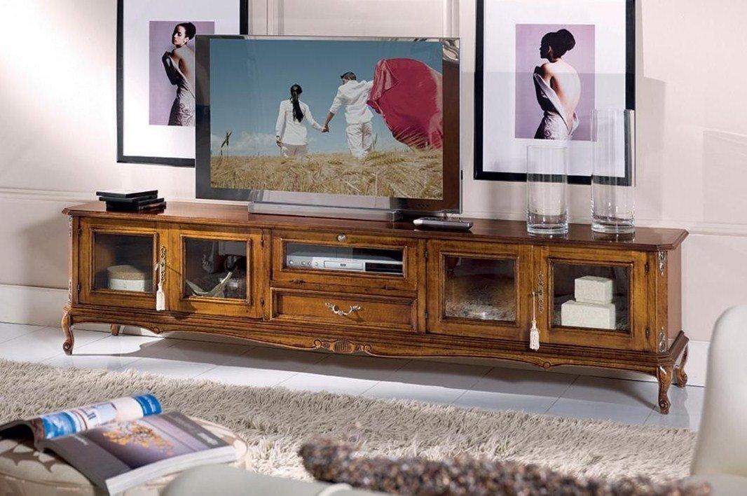 Porta Tv Legno Scuro.Base Porta Tv 4 Ante 1 Cassetto 1 Ribalta Colore Legno Scuro Dimensioni 210 Cm 43 Cm H 53 Cm 0 60 Mc Stile Classico 100 Legno
