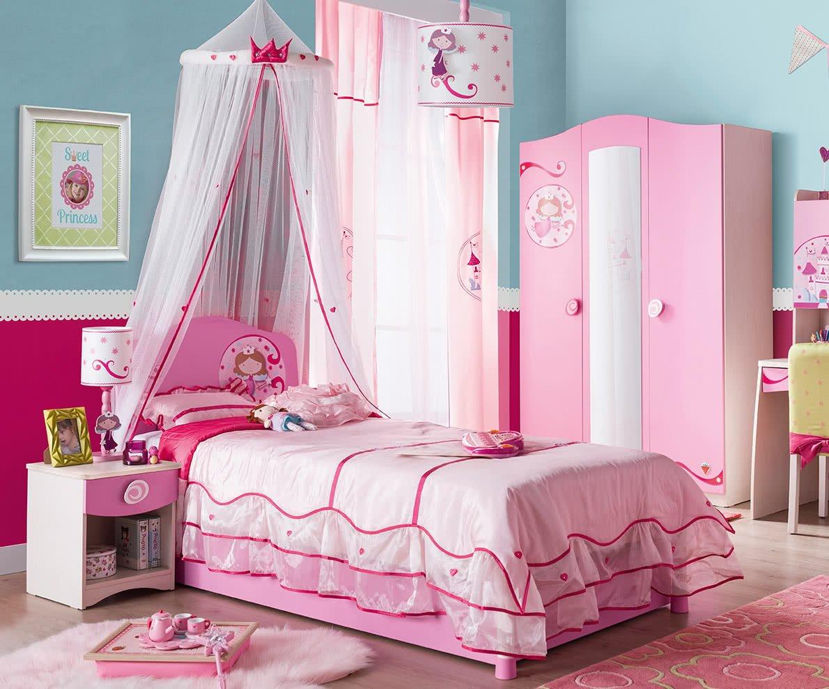 Cameretta completa per ragazza o bambina - Comprende: un letto , un  materasso , un set coperte e cuscini , Un cassettone , un baldacchino , Un