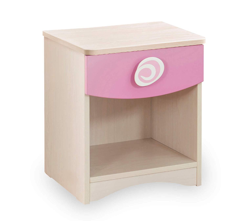 Comodino per Cameretta per ragazza o bambina - Un Comodino con un cassetto  - Dimensioni Comodino : 40 cm H 47 cm 41 cm - [Serie: Dafne-principessa] -  ...