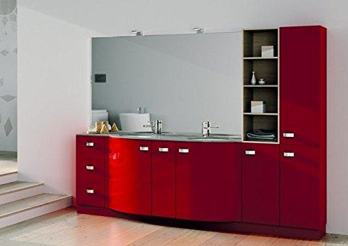 Composizione da bagno completa, colore rosso con colonna