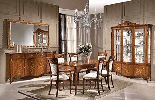 Composizione sala da pranzo e soggiorno, colore legno scuro, composto da  Tavolo; 4 Sedie, ; 2 Sedie Capotavola, ; Credenza; Specchiera oro. Stile ...
