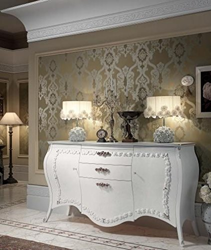 Credenza soggiorno, colore bianco, decorazione con foglia argento, H ...