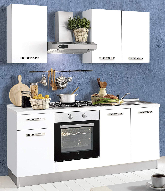 Dafnedesign.com- Cucina piccola - composizione six cm. cm. 195 x 60 x 216h  - comprende: cappa, forno ventilato, pozzetto lavandino, piano cottura a ...