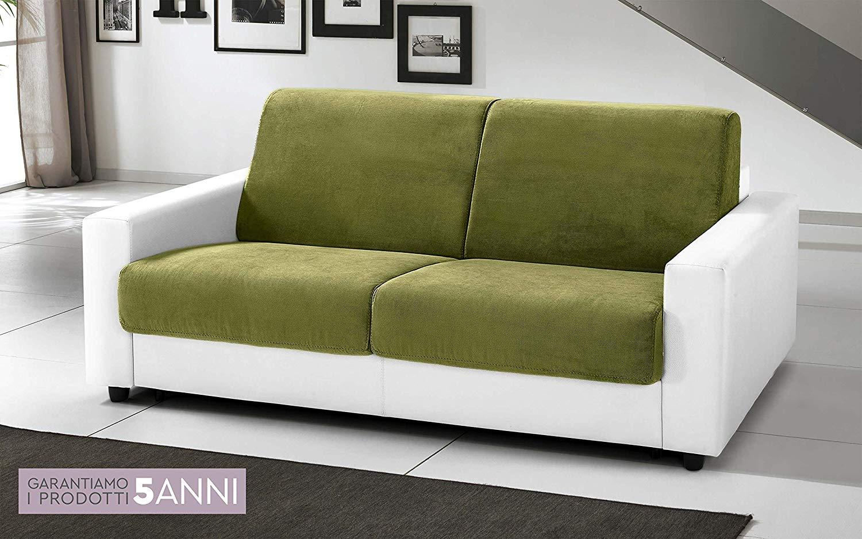 Divano letto 3 posti colore bianco verde rivestimento tessuto ed - Rivestimento letto ecopelle ...