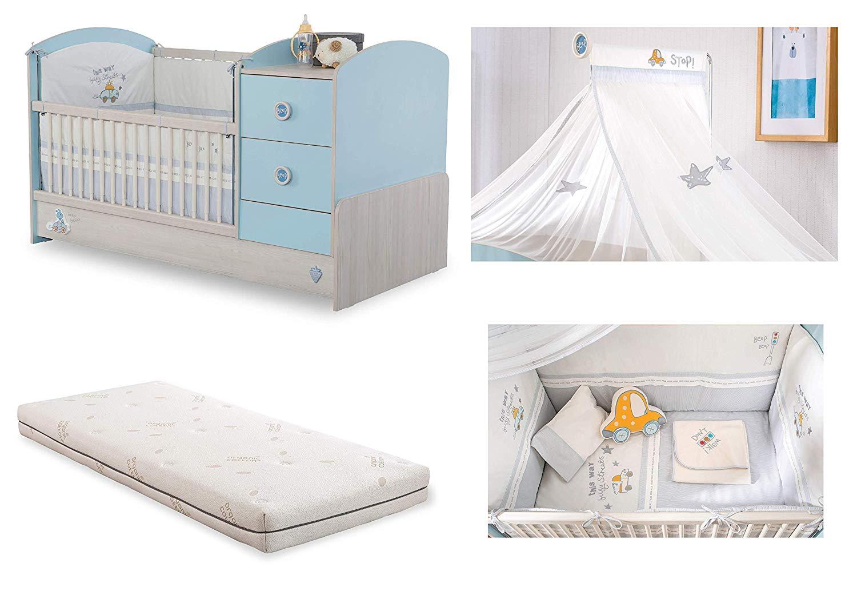 Lettino prima infanzia per cameretta per neonato o bambino - il ripiano per  cambio neonato ha due cassetti e due scaffali si divide dal letto e