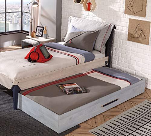 Dafnedesign.com – Letto - Doppio letto singolo per una cameretta da ragazzo  o bambino - testiera con cuscino double faced - Letto a cassettone sotto ...
