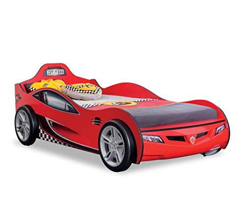 Letto infanzia auto da corsa rossa Cameretta per ragazzo o bambino ( 109 cm  H 80 cm 208 cm ) [Serie: Dafne-Corsa]