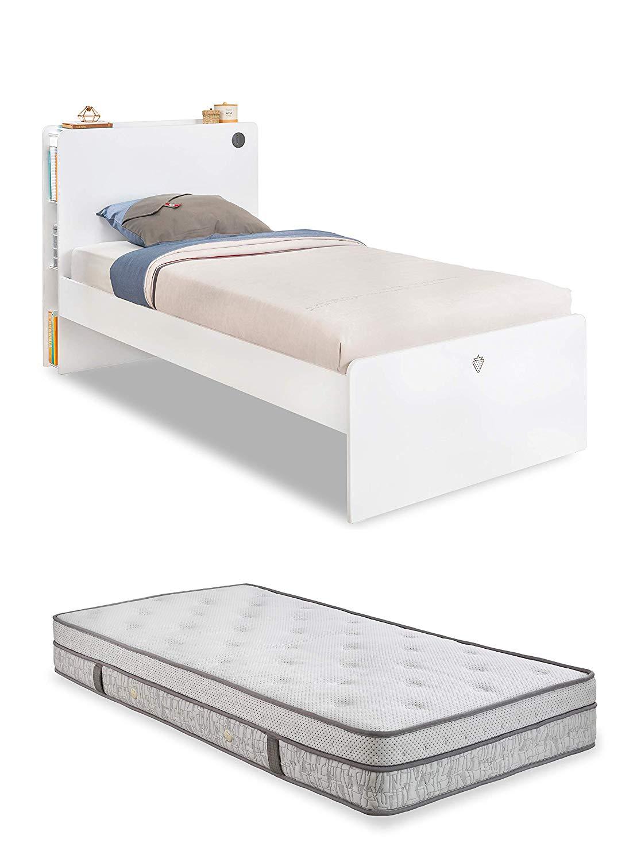 Letto completo - Un letto singolo per una cameretta da ragazzo o bambino -  testiera con libreria e porte USB una piazza - comprende un materasso - ...
