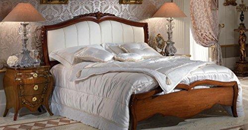 Letto matrimoniale, colore legno scuro, con testata in pelle, colore  bianco, H. 133 x P. 215 x L. 205 - per rete 180x200, 65 Kg, 0.50 Mc/M³,n.  colli ...