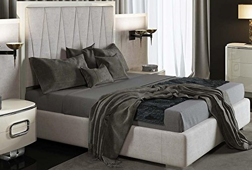 Bed 210 160.Dafnedesign Com Double Bed With Headboard Gray And White Colors