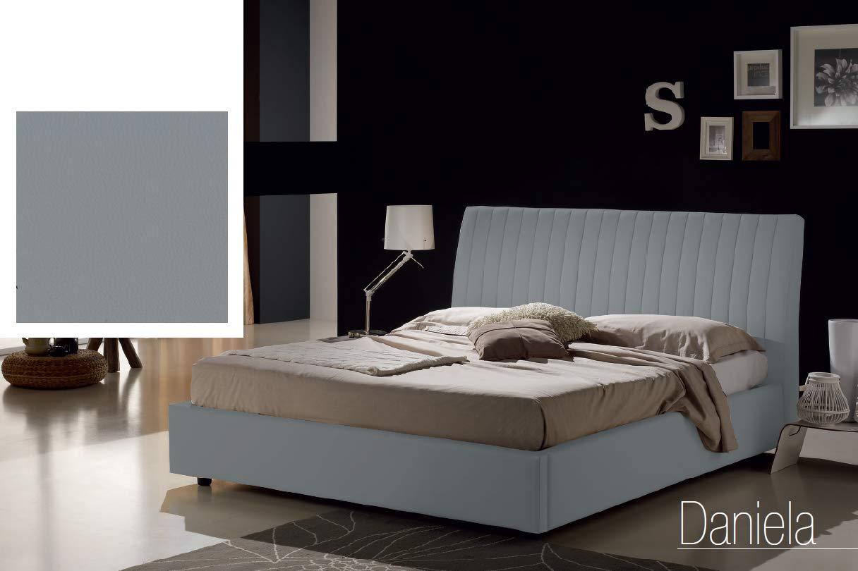 Dafnedesign.com - Letto matrimoniale con vano contenitore imbottito,  rivestimento in similpelle, colore grigio - Dimensioni: Larghezza 178 cm,  ...