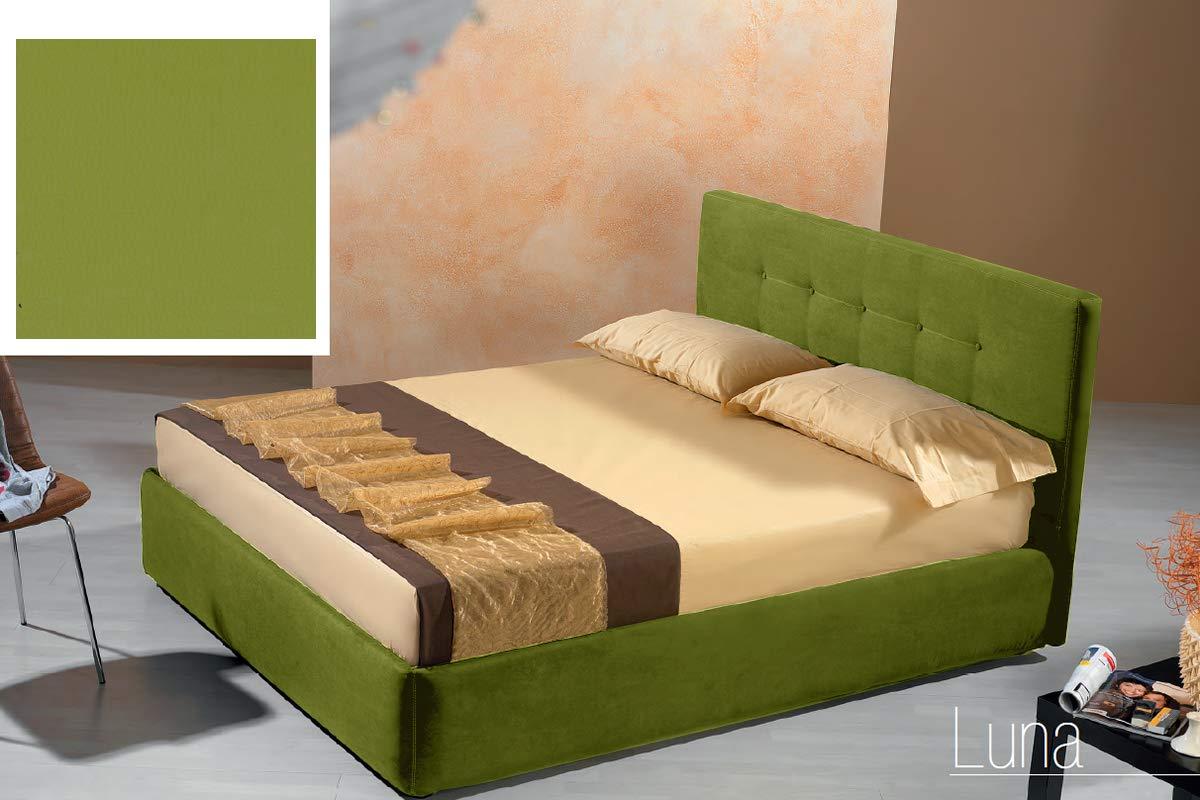 Letto matrimoniale con vano contenitore imbottito, rivestimento in  similpelle, colore verde oliva - Dimensioni: Larghezza 176 cm, 210 cm, H  100 cm - ...
