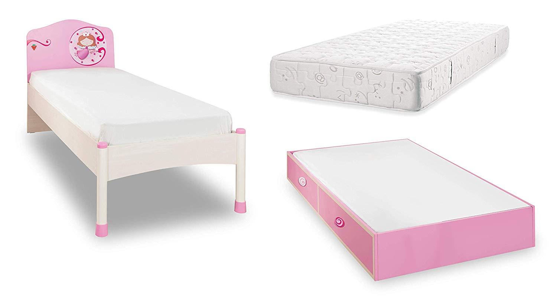 Letti Per Ospiti Salvaspazio letto per cameretta per ragazza o bambina - un letto a una piazza decorato  con la figura di una principessa sulla testiera - comprende un cassettone a