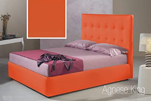 Letto una piazza e mezza con vano contenitore imbottito, rivestimento in  similpelle, colore arancione - Dimensioni: Larghezza 136 cm, 220 cm, H 140  cm ...
