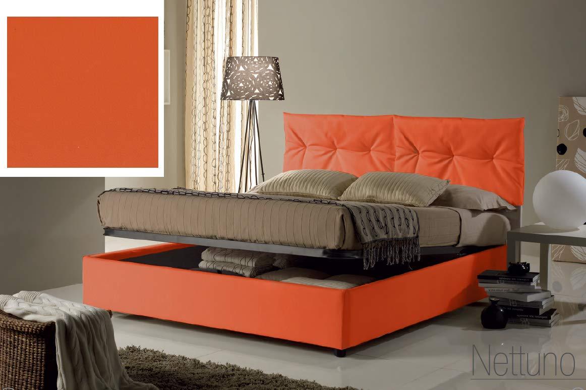 Letto una piazza e mezza con vano contenitore imbottito, rivestimento in  similpelle, colore arancione - Dimensioni: Larghezza 134 cm, 215 cm, H 102  cm ...
