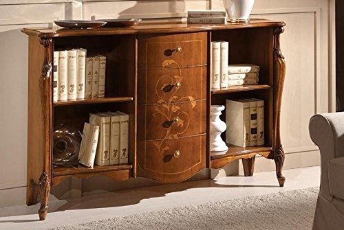 Dafnedesign.com - Rak buku terbuka dengan laci 4, warna kayu gelap - Dimensi: 154 panjang cm - Kedalaman 42 cm - Tinggi 99 cm - 0,75 Mc - Gaya klasik -100% ...