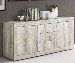 73a0179a9a95a3 Dafnedesign.com - Buffet - Couleur  pin blanc - Buffet Portes 2 avec tiroirs  3 au design simple et linéaire, le tout dans une finition effet bois.