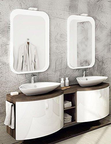 Mobile da bagno 2 lavabi - Misura: L.165 P.50/36 cm - Finitura ...