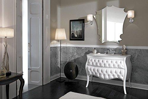 Dafnedesign Com Mobile Da Bagno Classico Vanity Capitonne Misura L 106 H 82 P 57 Finitura Bianco Lucido E Capitonne Bianco Top Cristallo