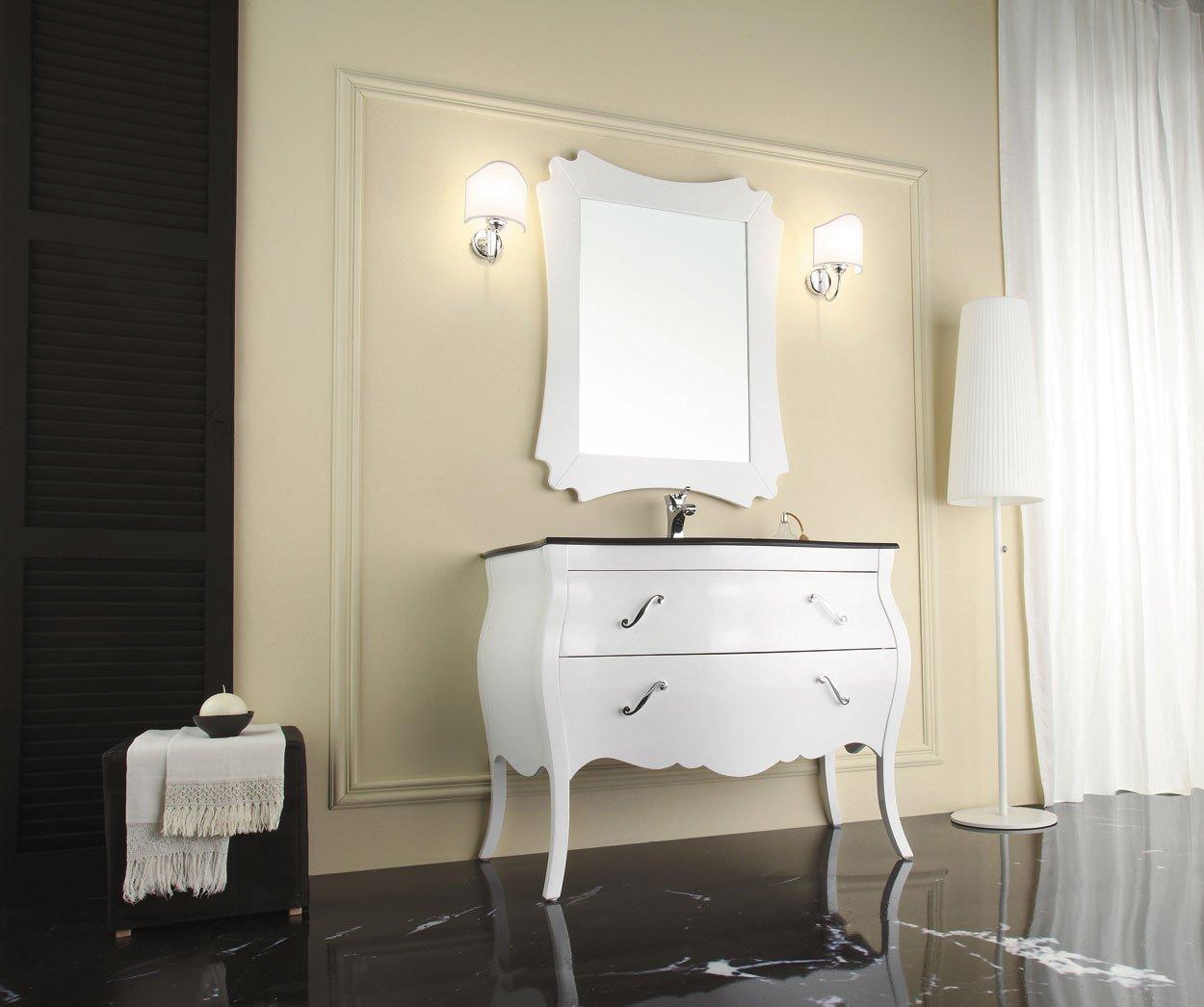 Dafnedesign.com – Mobile da bagno classico con lavabo integrato con cassetti e specchio Base p ...