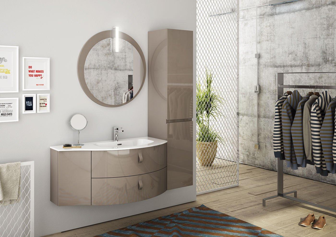 """Mobile da bagno color tortora beige -Lampada led """"PLEXY 30"""" Led lamp """"PLEXY  30"""" Specchio mirror """"DISCO"""" H 80 x L 80 cm, Base p. lavabo curvo 2 ..."""