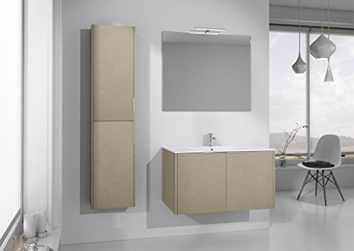 Dafnedesign.com - Mobile da bagno completo con lavabo rettangolare e  specchio rettangolare - Base con due ante e top con lavabo integrato,  specchio ...