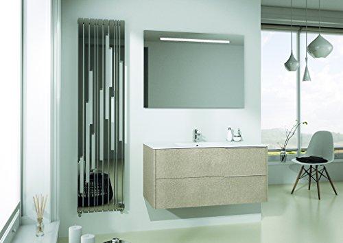 Specchio Angolare Per Bagno.Mobile Da Bagno Completo Con Lavabo Rettangolare E Specchio Rettangolare Base Con Due Cassettoni E Top Con Lavabo Integrato Specchio